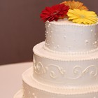 Three tier wedding cake.