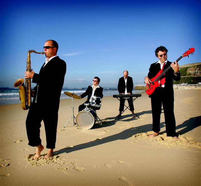The Funky Do Da's on the beach.